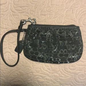 Coach small black & silver wallet clutch wristlet